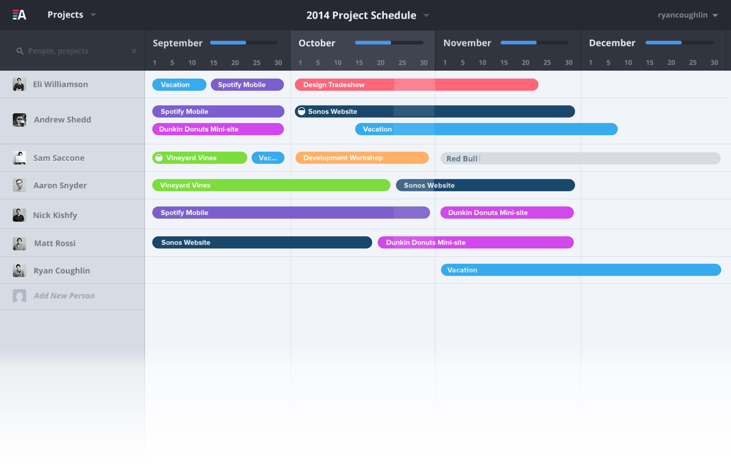 project scheduling calendar